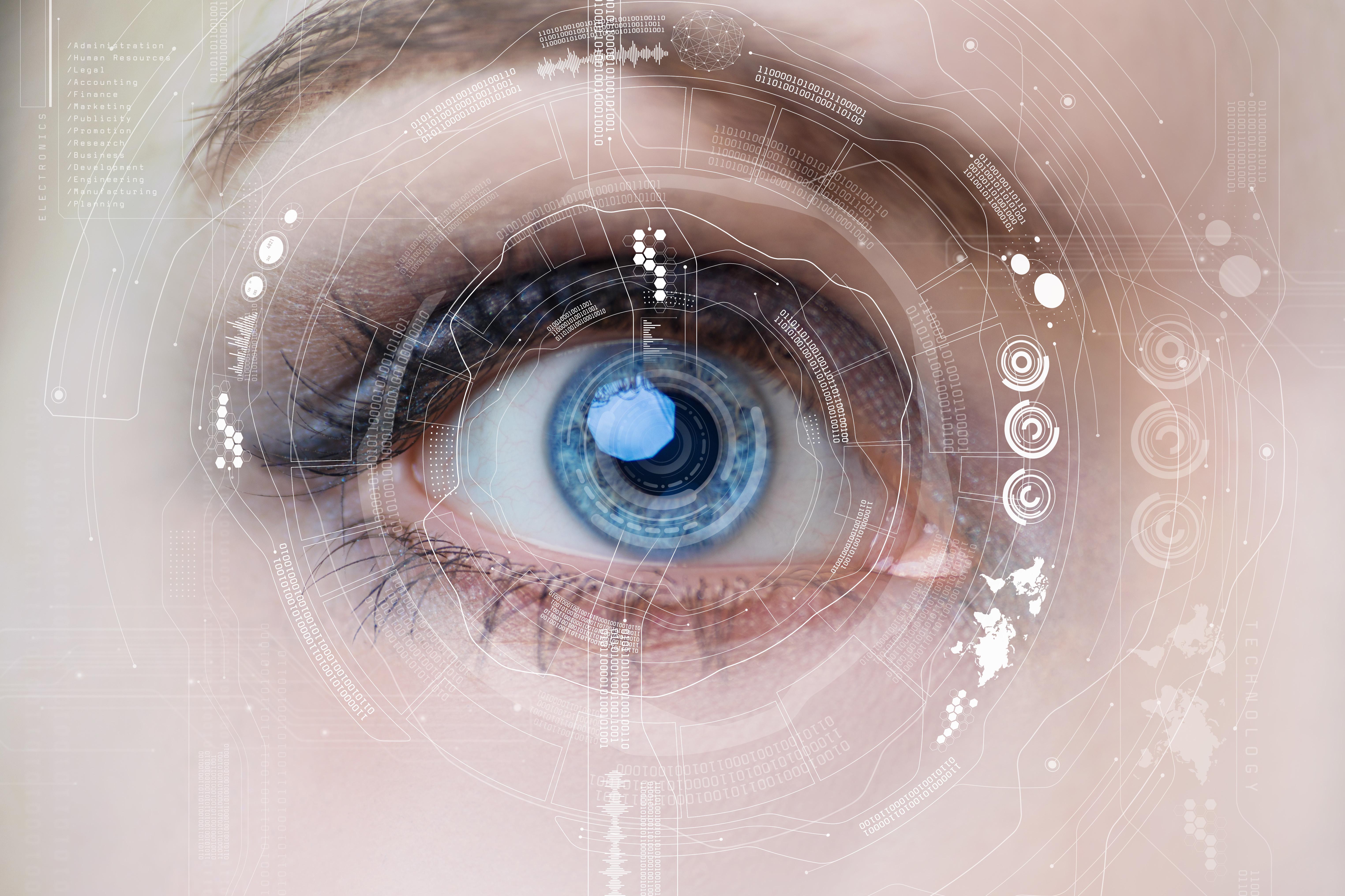 œil humain et interface graphique. concept de lentilles de contact intelligentes.
