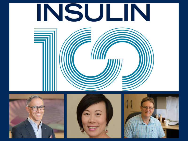 Insulin 100 logo with Bruce Perkins, Alice Cheng and Gary Lewis